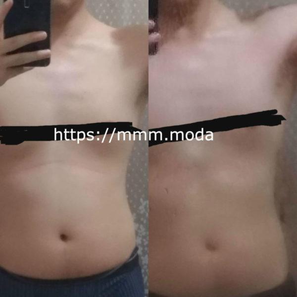 筋トレ+食事制限で3kg痩せた時のビフォーアフター画像-正面から