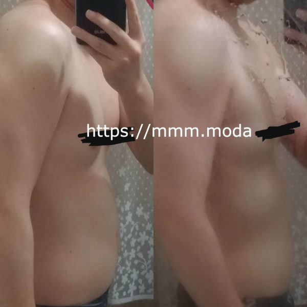筋トレ+食事制限で3kg痩せた時のビフォーアフター画像-横から